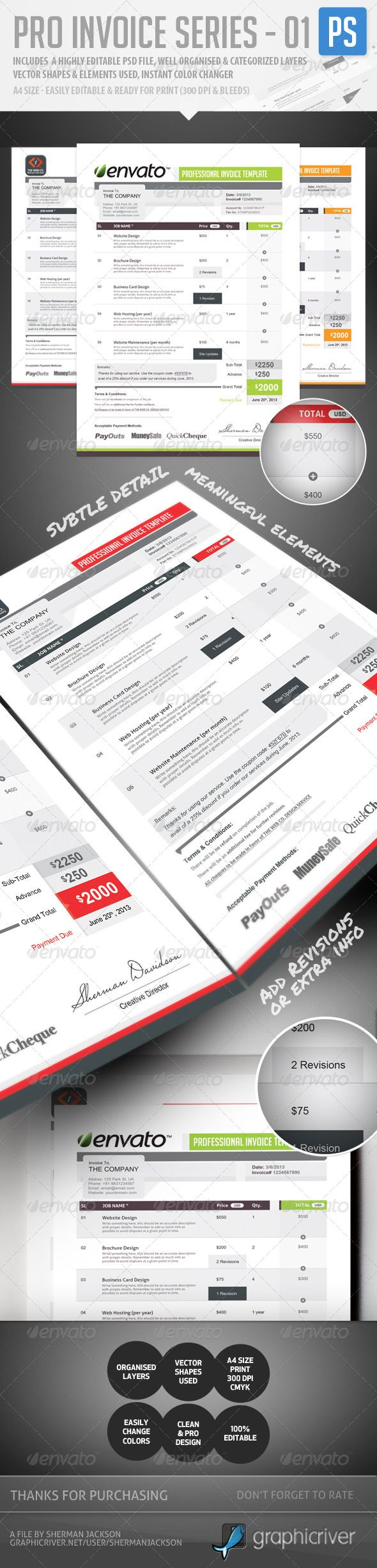 pro invoice template series 01
