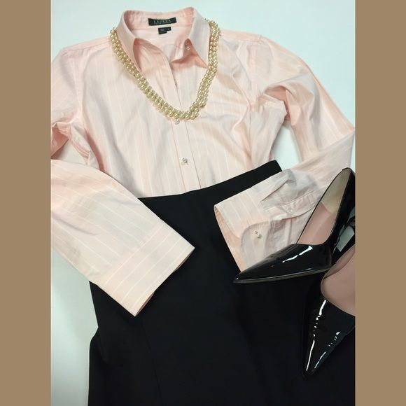 Ralph Lauren Signature Shirt NWT Office perfect w/your Pencil Skirt. Pretty Pearl buttons down detail 100cotton light pink color round tail hem true sz M. Ralph Lauren  Tops