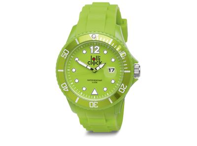 Light green Lolliclock Watch with Date. 44mm Polycarbonite case and silicon  strap, printing dial up index, 5ATM 3 hands date movement PC32. Buy online at www.lolliclock.com.au