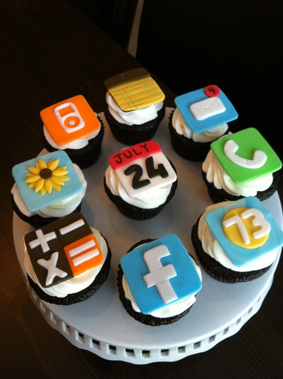 phone app fondant cupcake toppers @ sugarnontop4 / sugared up - etsy