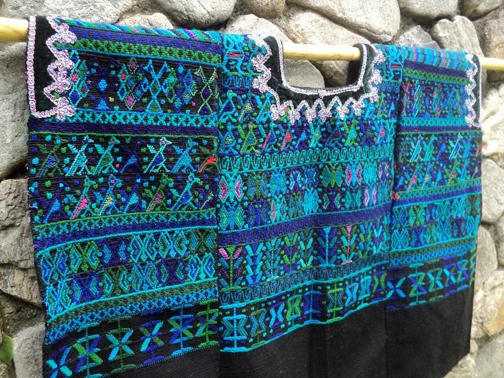 Auth. Cakchiquel Mayan Textile, Huipil: Santa Catarina Palopo. Backstrap Weave, Guatemalan Blouse, Fair Trade. via Etsy.