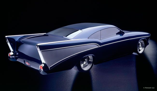 The CheZoom. Built in 1995 by Boyd Coddington and based on a '57 Chevy. Because of Thom Taylor's radical styling, only about ten percent of the original sheet metal remains.