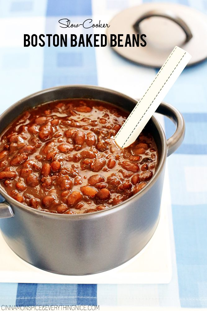 """Slow cooked Boston baked beans with molasses, maple syrup, bacon or salt pork, onions, garlic, ginger, apple cider vinegar and a touch of cloves. I usually think of beans as """"man"""" food. I cooked these for my Dad who absolutely loves beans of any kind. . . the ladies in my family. . . eh, …"""