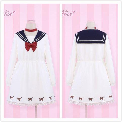 "Japanese harajuku navy collar dress - Use the code ""batty"" at Sanrense for 10% off your order!"