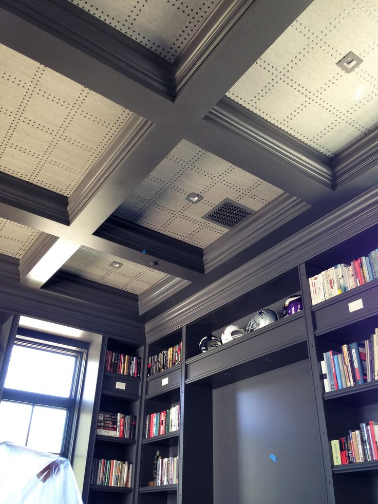 Phillip Jeffries rivets installed on a coffered ceiling. Paradise Valley Az. My install
