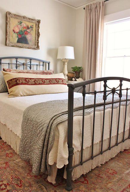 Favorite Paint Colors: bedroom: Wall Colors, Irons Beds, Favorite Paintings Colors, Guest Bedrooms, Colors Bedrooms, Beds Skirts, Beds Frames, Guest Rooms, Benjamin Moore