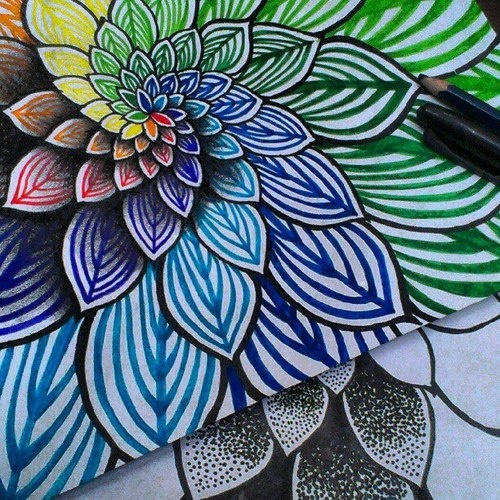 What is this? Golden mean spiral mandala of rainbow colored petals… Thanks Vi Hart for your inspirational videos