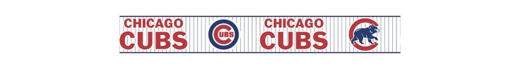 York Wallcoverings ZB3317BD Kids Book Chicago Cubs Pinstripe Border Deep Royal Blue / Fire Engine Red / Winter White Home Decor Wallpaper Borders