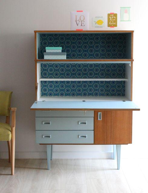Secrétaire/ buffet vintage en teck rénové et relooké par Les Jolis Meubles