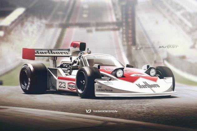 """empresa de design britânico, criando uma imagem que mistura a máquina F1 na década de 1970 com a primeira geração Mazda """"Roadster"""""""