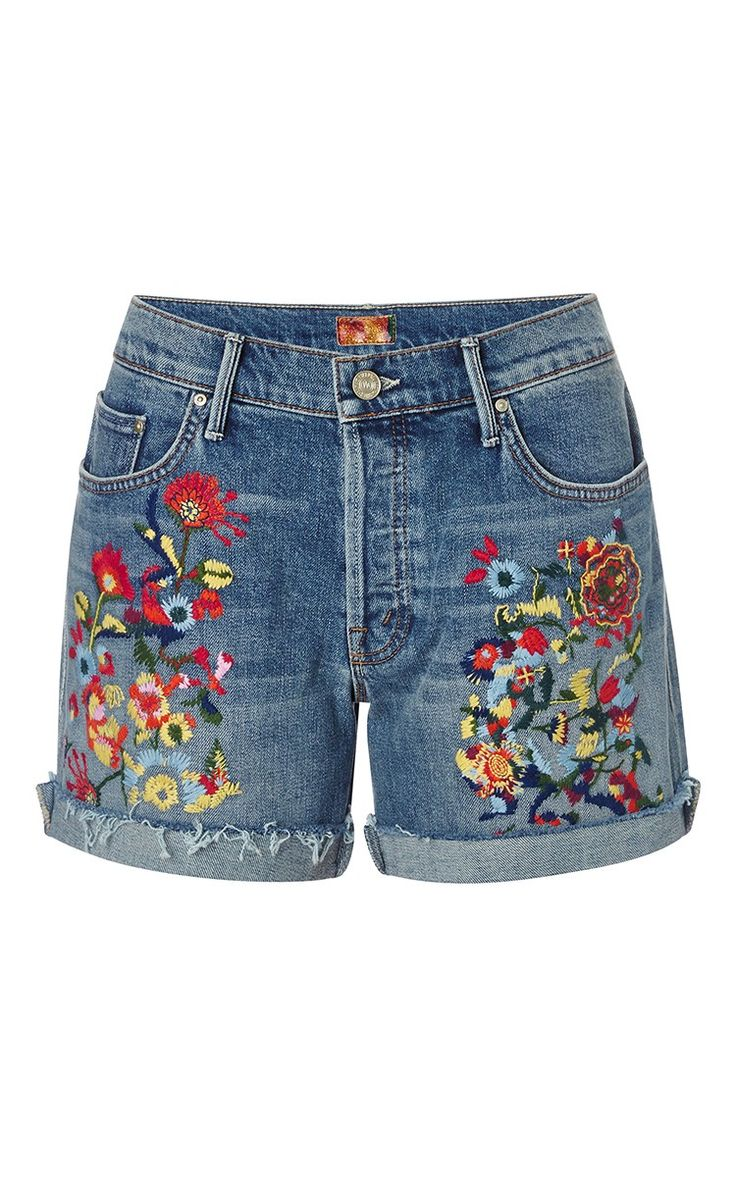 Loosey embroidered jean shorts by Mother Denim | Machine ...