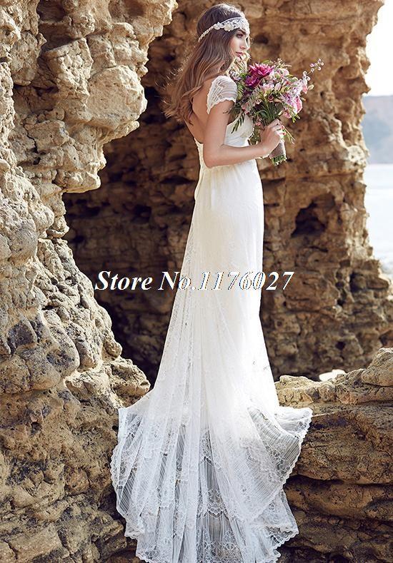 Новое поступление анна кэмпбелл пляж свадебное платье 2016 кружевными рукавами Vestido де Noiva милая спинки поезд свадебные платья BB40 купить на AliExpress