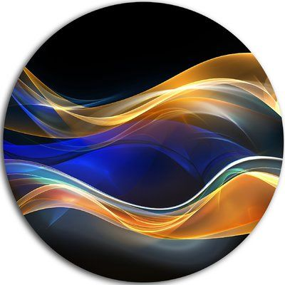 DesignArt '3D Gold Blue Wave Design' Graphic Art Print on Metal Size: