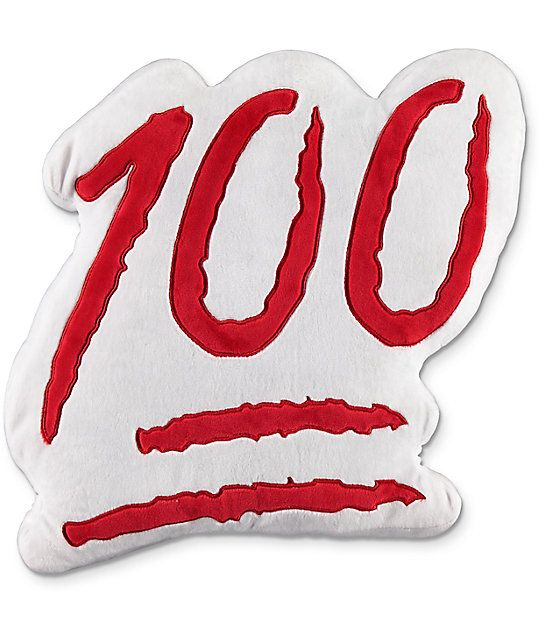Keep your style 100, now at home too! The 100 Emoji pillow from Throwboy features an appliqued 100 emoji graphic on the front of a white plushy pillow and is accented by a red plushy back.