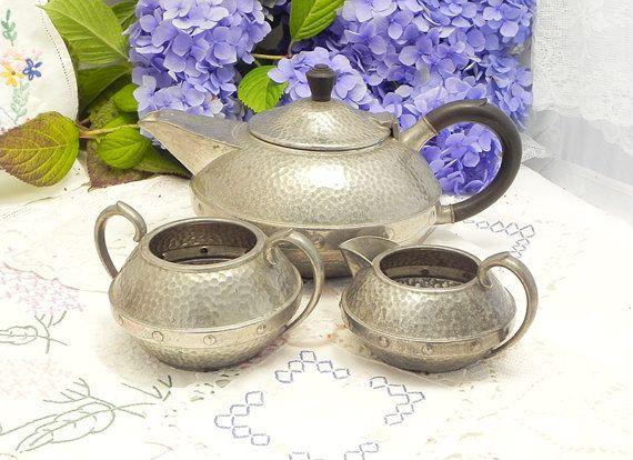 Handmade Pewter Tea set, Coffee Service, Art Deco, 1930's, Craftsman English Pewter, Hand Hammered Pewter.