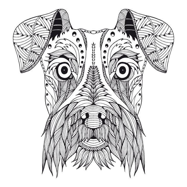 Neue Mandalas Zum Ausmalen Online Schnauzer Art Dog Coloring Page Outline Drawings