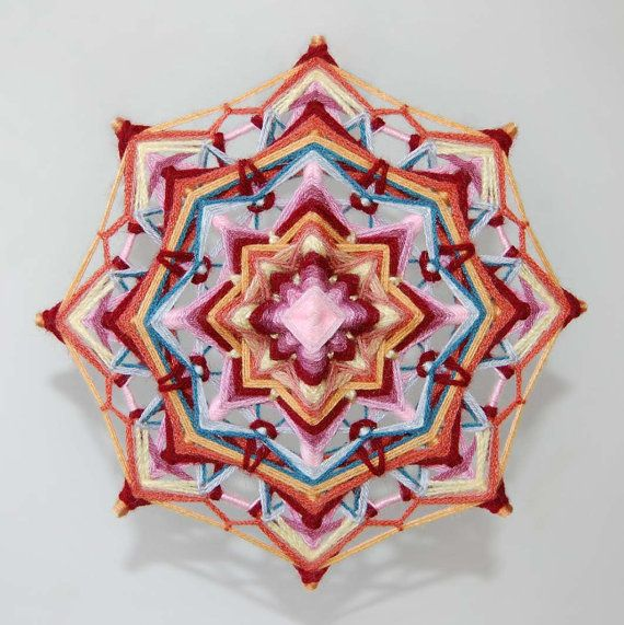 Incredible Life yarn mandala Ojo de Dios 9 inches by JivaMandalas