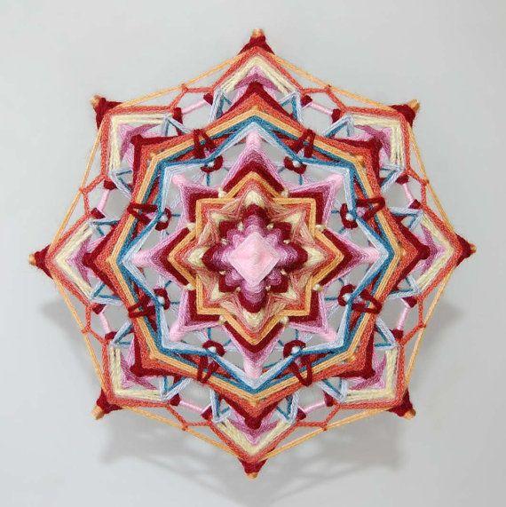 Incredible Life yarn mandala  Ojo de Dios 9 inches by JivaMandalas