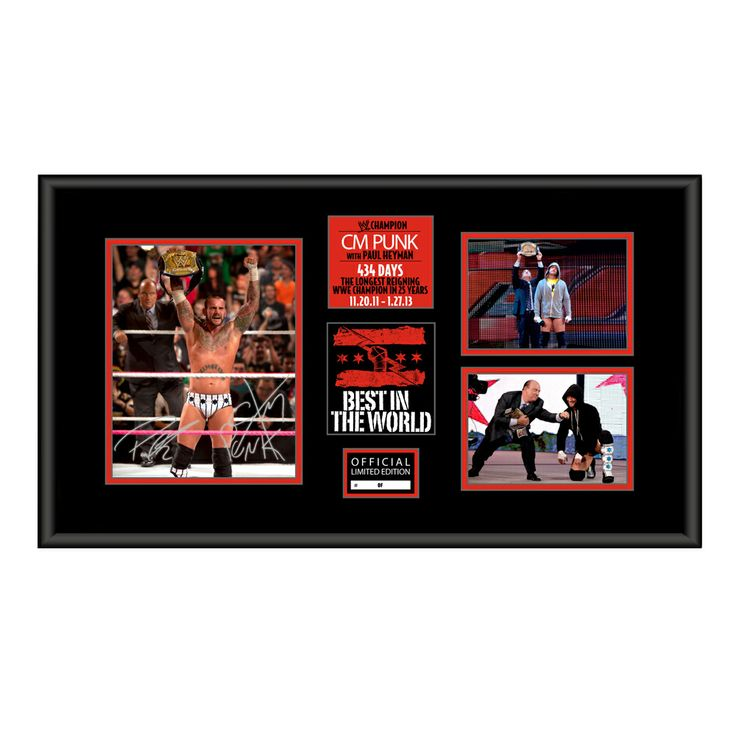 Signed CM Punk with Paul Heyman Commemorative Championship Plaque: Own a day of the longest WWE Championship title reign in 25 Years with this WWE Shop Exclusive Plaque signed by BOTH CM Punk and Paul Heyman.
