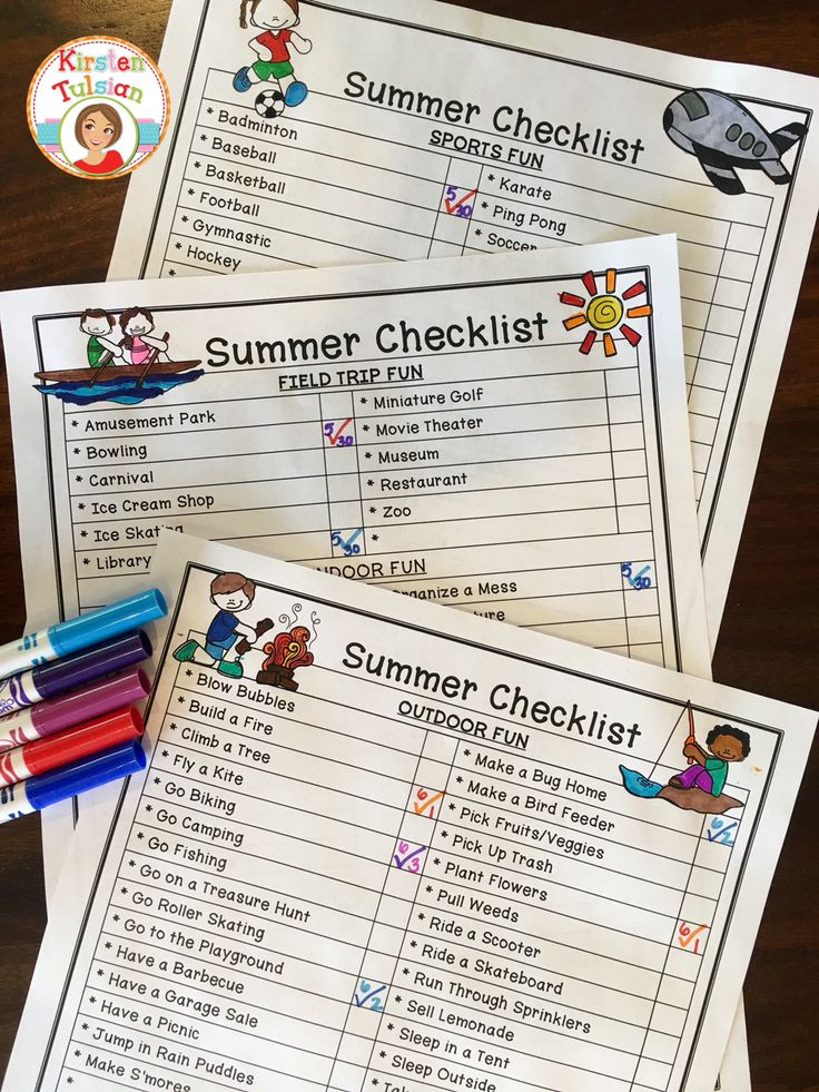 """FREE Summer Activity Checklist! When your kids say, """"I'm bored, what can I do?"""".... you'll have a list of ideas to fill the summer hours! Perfect for parents, babysitters, and teachers who want to give their students a way to check off their summer fun!"""