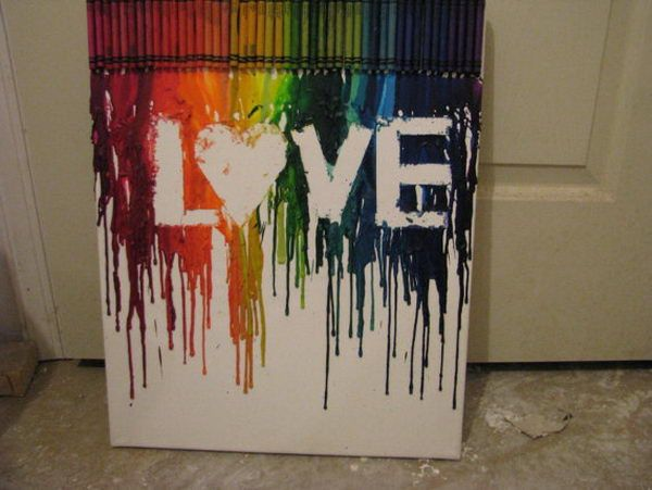 Letters of Love - Cool Melted Crayon Art Ideas, http://hative.com/cool-melted-crayon-art-ideas/,                                                                                                                                                                                 More