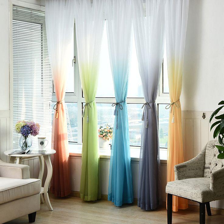 Rèm Cửa vải tuyn 3d In Nhà Bếp Trang Trí Cửa Sổ Điều Trị Phòng Khách American Divider Voile Tuyệt rèm Bảng Điều Khiển Duy Nhất