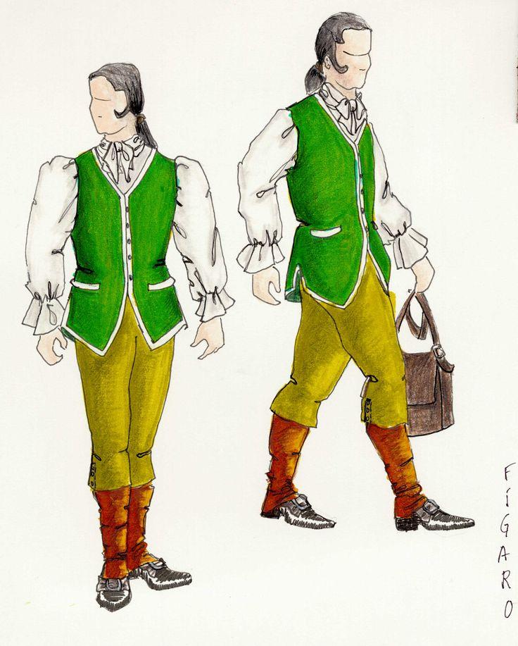 Schizzo per Il costume de Figaro de Il SuperBarbero di Siviglia  Data: 1993 Regia: Tricicle, Pilar Solé  Costume: Ana Güell  Resoluzione: (2352 x 2923) 300ppp Fonte: www.tricicle.com