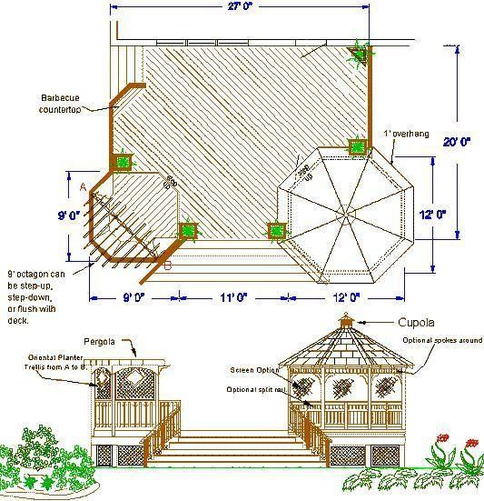 Affordable wood deck design deck rail design plan wood for Wooden deck plans