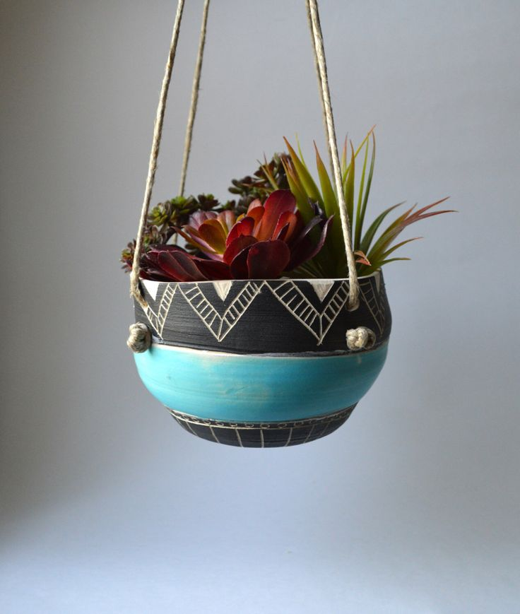 T R I B A L : ceramic hanging planter by mbundy on Etsy https://www.etsy.com/listing/231353125/t-r-i-b-a-l-ceramic-hanging-planter