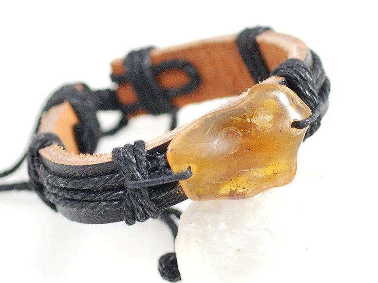 Natural bracelet AMBER - leather 13250 + Certificate - Adjustable MEN Wonem jewelry amber stone bracelet by myamberEU on Etsy