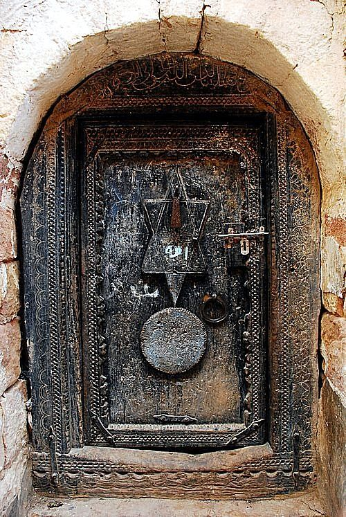Star of David on ancient door. Beautiful!