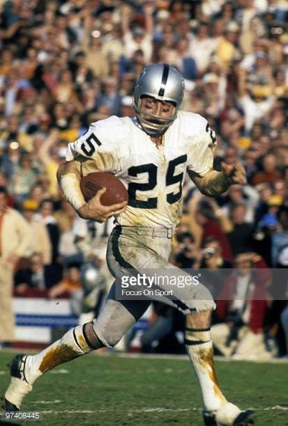 Wide Receiver Fred Biletnikoff of the Oakland Raiders in action races towards the endzone against the Minnesota Vikings during Super Bowl XI on...