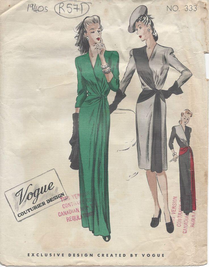 "1940s Vintage VOGUE Sewing Pattern B32"" DRESS (R571)"