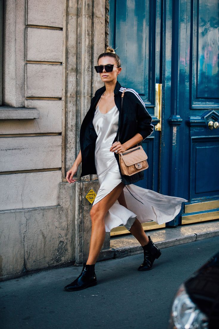 SS17 Paris Fashion Week Street Style - September 2016. Slip dress, track jacket