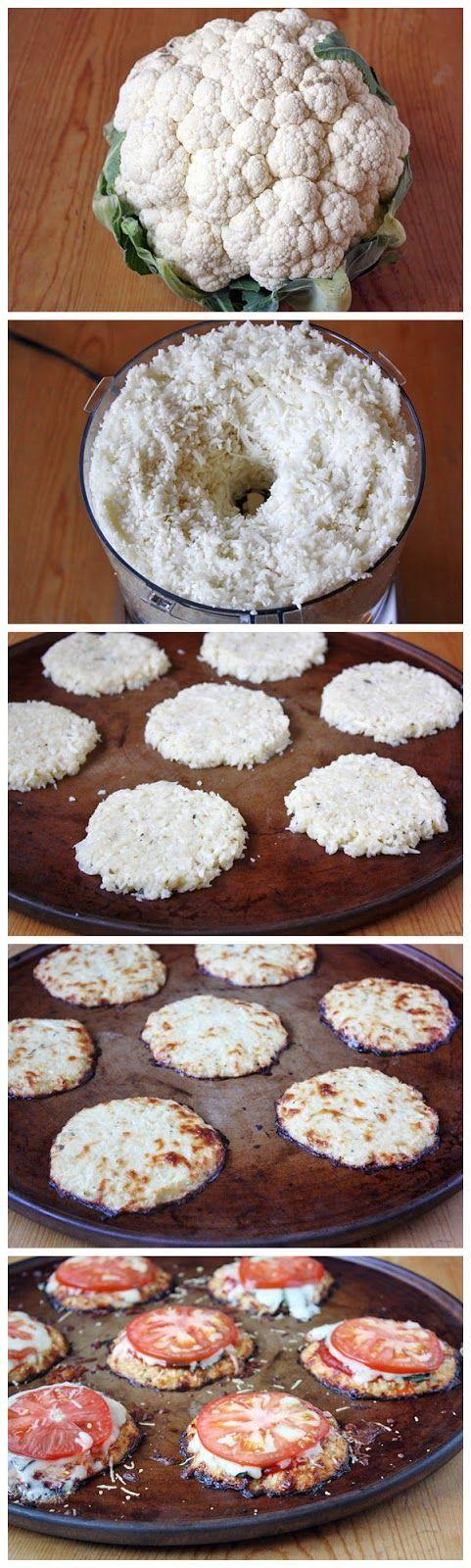 Mini Cauliflower Pizza Crusts recipe #food #paleo #glutenfree