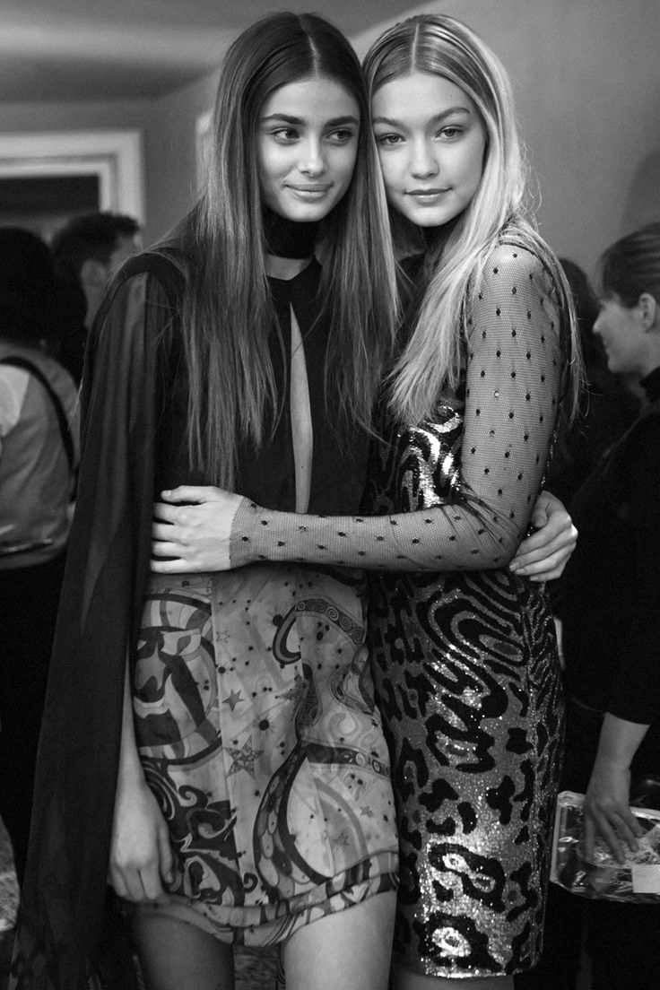 "senyahearts: ""Taylor Marie Hill & Gigi Hadid - Backstage at Emilio Pucci, Fall 2015 RTW """