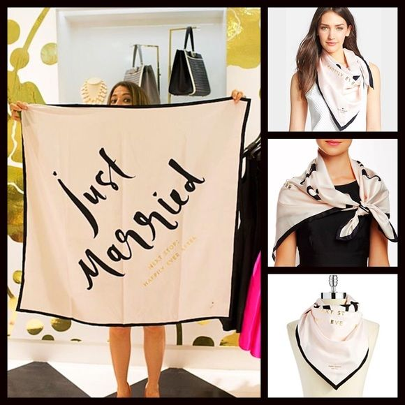 """KATE SPADE SILK SCARF Just Married Happily Ever  NEW WITH TAGS   KATE SPADE SILK SCARF Just Married Happily Ever After   * Silk square scarf.  * Black print, 'Just Married Happily Ever After'     * About 15"""" L X 15"""" W  * Gift box included. Fabric: 100% Silk        Color: Pastel Ballet & Black   Item:  ***Larger promo scarf in cover photo for detail purposes only.  No Trades ✅ Offers Considered*✅  *Please use the blue 'offer' button to submit an offer. kate spade Accessories Scarves & Wraps"""