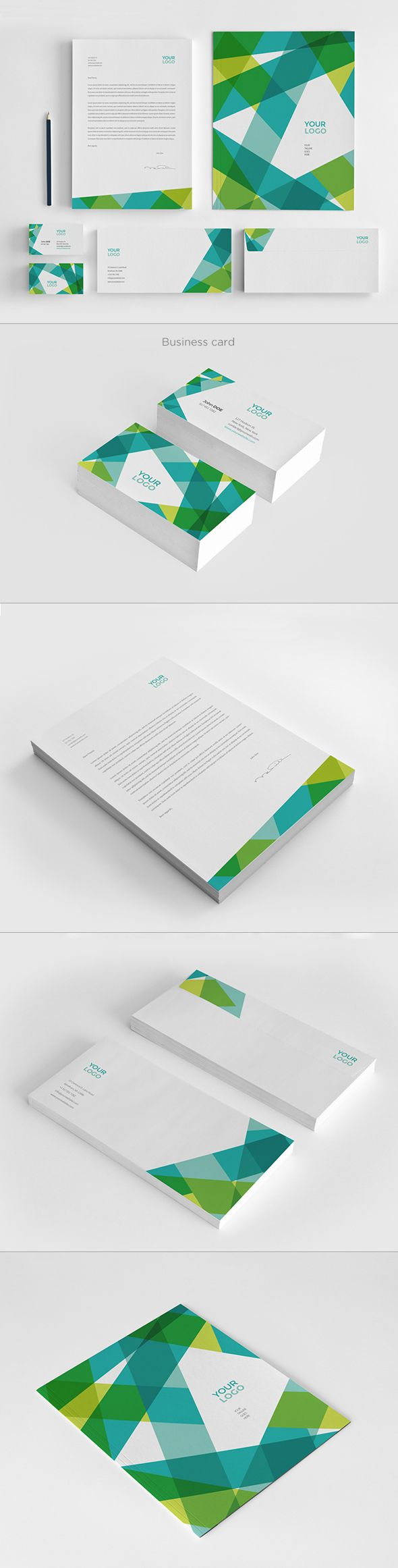 Modern Green Blue Stationery by Abra Design, via Behance. A little busy, but the business cards are cool
