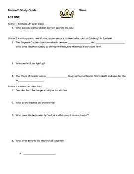 """This Macbeth study guide covers all five acts with 90 factual, thematic, and in-depth questions. Answers are also provided for the teacher. All acts and scenes are marked with brief setting descriptions. It also includes an opportunity for students to reflect on Macbeth's """"out, out, brief candle"""" soliloquy."""""""