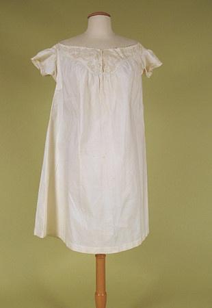 White cotton chemise with soutache braid trim, 1860-1880.