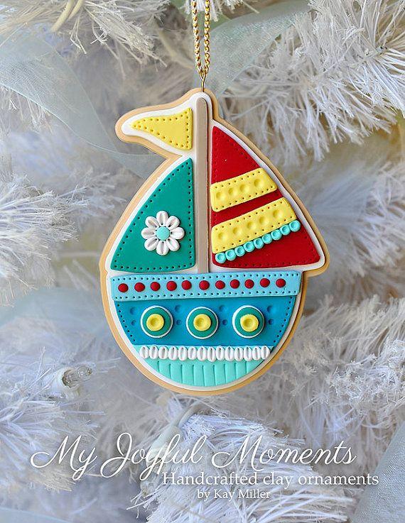 Polímero artesanales arcilla velero ornamento por MyJoyfulMoments, $15.00