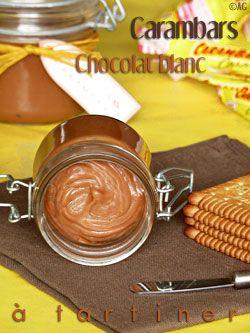 pate à tartiner aux carambars at au chocolat blanc. Vous comprenez bien qu'il s'agit de test pour les enfants, hein? (et oust le n*tella en prime, tout bénéf')