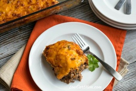 Need a simple ground beef casserole to feed your family or friends? They will love this easy low carb bacon cheeseburger casserole.