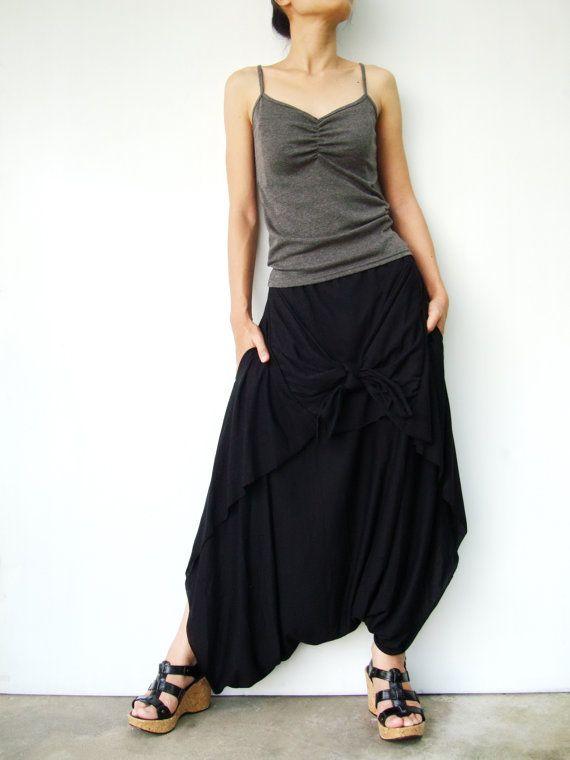 NO.86 Black Cotton Jersey Cool Unique Asymmetric by JoozieCotton #handmadecolourplay