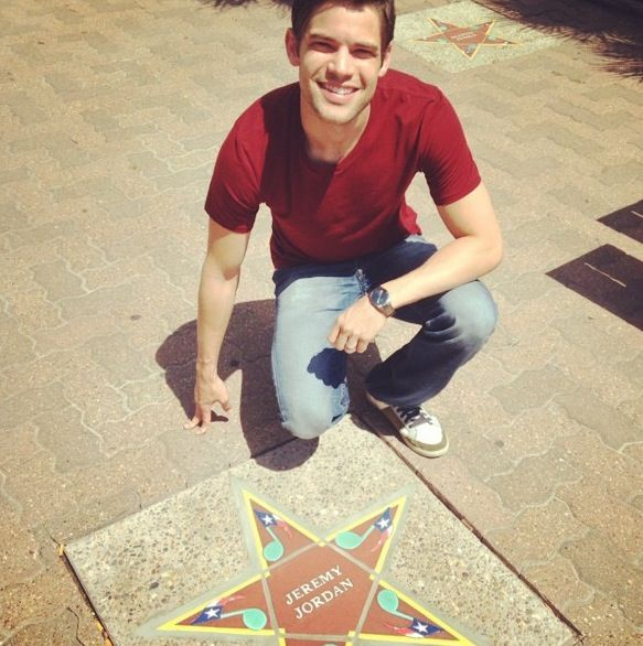 Jeremy Jordan finds his star on the South Texas Music Walk of Fame. -- Photo originally from Jeremy Jordan's wife Ashley Spencer's Instagram.