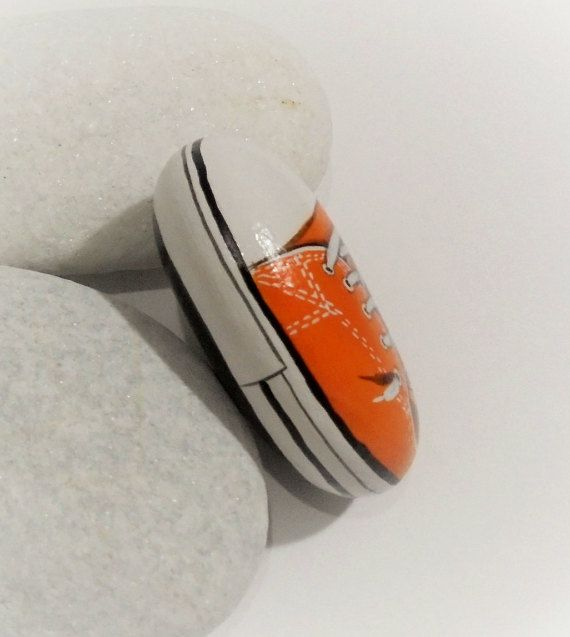 Orange Converse All Star Shoe Painted Pebble Is Painted with