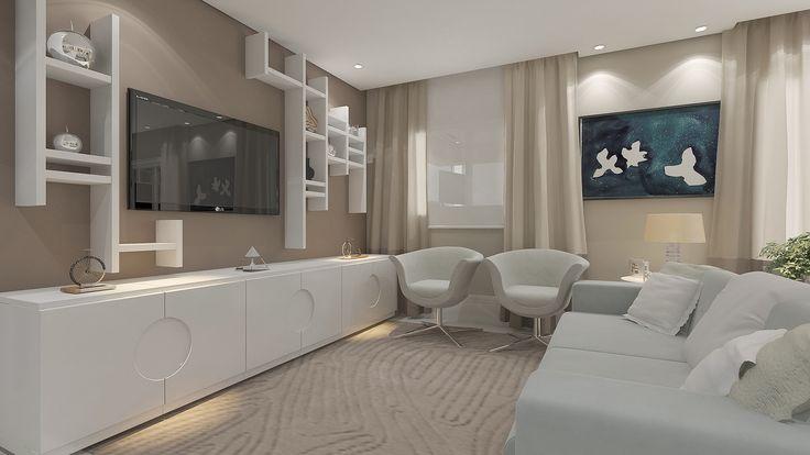 Com um design diferenciado, o móvel em volta da tevê proporciona para a decoração um estilo mais clean e aconchegante. Fonte: Arquivo Pessoal.