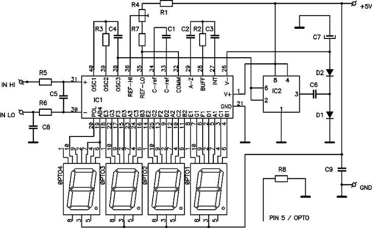 digital dc voltmeter based icl7107 chip