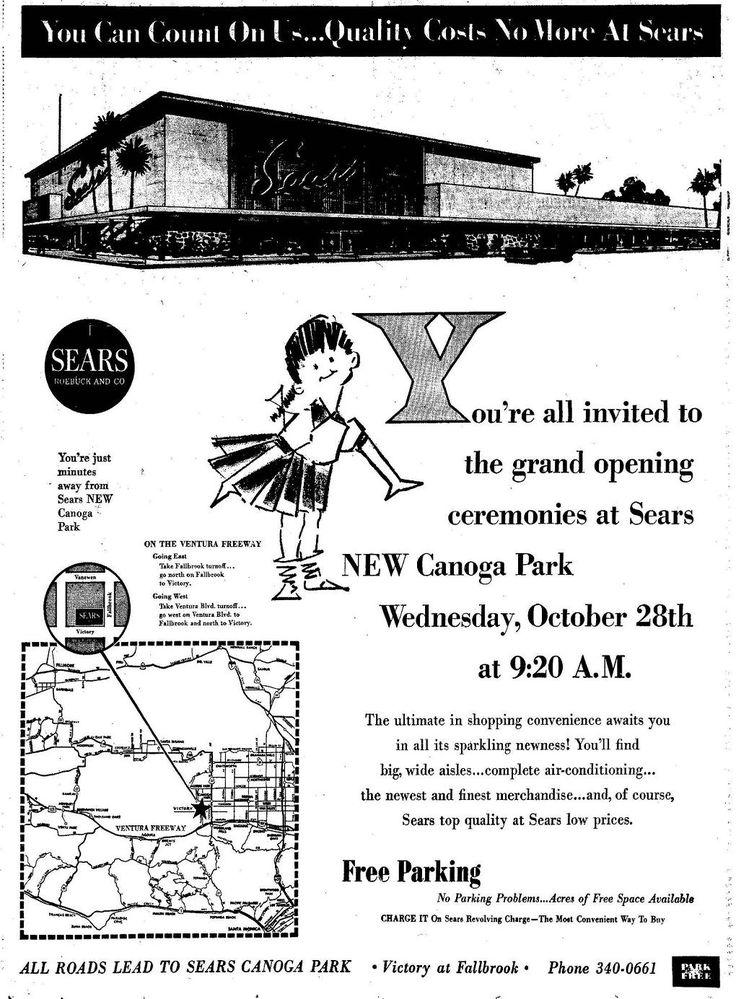 Pleasant Family Shopping: Sears - Canoga Park, California 1964