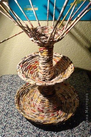 Мастер-класс Поделка изделие Плетение Фруктовница-конфетница-печенюшница Бумага газетная фото 20: